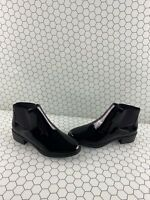 ALDO Black Patent Leather Pull On Block Heel Ankle Boots Women's Size 6