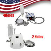 USPS! 2/4 Hole Portable Dental Lab Turbine Unit Air Compressor Wth Syring