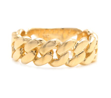 14K Solid Yellow Gold Unisex Cuban Link Ring