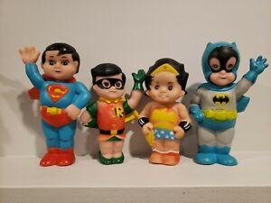 Vintage Rubber Super Junior Superman & Robin batman wonder LOTSqueak Toy DC 1978