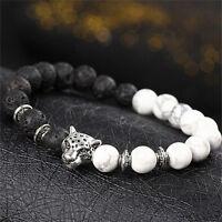 Handmade Mens Women Animal Beaded Natural Lava Stone 8MM Beads Agate Bracelet EW