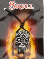Collar Colgante Cruz Calavera Mexicana Estaño 6746-D8