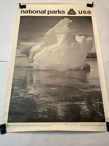 Original 1968 Ansel Adams National Parks Poster: ICEBERG-Glacier Bay National PK