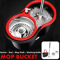 Upgraded Microfiber Spinning 360 Rotating Mop &Bucket Head Floor Cleaning Set US