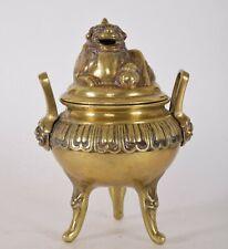19th Century Chinese Bronze Tripod Censer Incense Burner Lion Lid