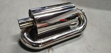 "1x Twin Loop Canister Style Sport Exhaust Muffler 2.0"" Inlet JDM Euro Universal"