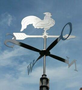 Windfahne / Wetterhahn mit Himmelsrichtungsanzeige aus Edelstahl inkl. Befestig.