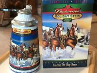 ANHEUSER-BUSCH HAND-CRAFTED BY CERAMARTE OF BRAZIL 'BUDWEISER HOLIDAY STEIN 2002