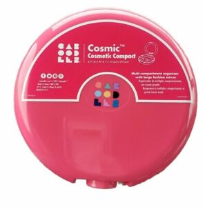 Caboodles Cosmetic Retro Compact Organizer Case Cosmic Hot Pink With Mirror New