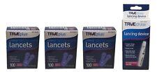 3x100 TRUEplus Diabetic Test Sterile Lancets 30 Gauge WITH FREE LANCETS DEVICE