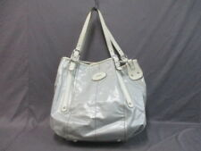 Auth TOD'S G bag LightGray Ivory Coated Canvas &  Leather Tote Bag
