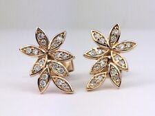 18K Rose Gold Natural Round Diamond Flower Leaf Stud Earrings 0.12 Ct