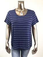 CHICO'S NEW BLUE WHITE STRIPE SHORT-SLV TOP SIZE 3 (XL)