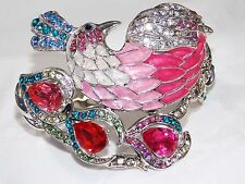 GLAMOROUS CRYSTAL PEACOCK PINK BANGLE / BRACELET / CUFF