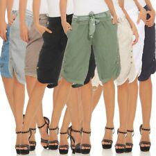 Damen Capri 100% Leinen Bermuda Kurze Hose Freizeithose Shorts Gürtel Knöpfen