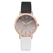 Ombre Women's Wrist Watch Rose Gold Steel Case Leather Band Bracelet Ladies Gift