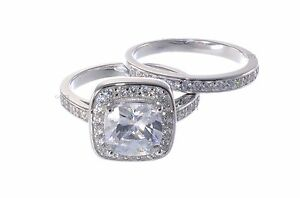 White Gold Sterling Silver Princess Cut CZ Engagement Wedding Two Ring Set