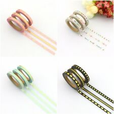 Set Of 3 Skinny Thin Narrow Washi Tapes 5mm X 10 Metres Each Roll OF Tape