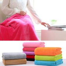 1X Super Soft Solid Warm Micro Plush Fleece Blanket Throw Rug Sofa Bedding Home