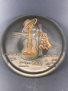 Vintage Etched Copper Chile Souvenir Plate Display