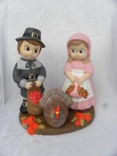 Vtg 1987 Handmade Ceramic Thanksgiving Boy & Girl Pilgrims & Turkey Centerpieces
