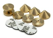 BRITISH Made BRASS 4 x Speaker Spikes + 4 x Spikes Pads SLIM + 3M adhesive pads