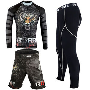 KOYES MMA Rash Guard UFC Grappling Fight Training Workout Gym Bjj Dragon Set