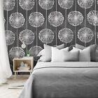 Wallpaper Black Metallic Silver Grey Floral Dandelion Flower wallcoverings rolls