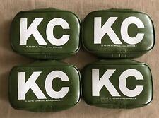 VINTAGE NOS KC HILITES 5504 GREEN RECTANGLE LIGHT COVERS SET OF 4 NEW