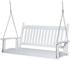 Porch Patio Swing 4 ft. Wide 400 lb. Load 2 Person Weather Resistant White
