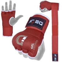 DEFY™ Gel Padded Inner Gloves with Hand Wraps MMA Muay Thai Boxing Fight Red