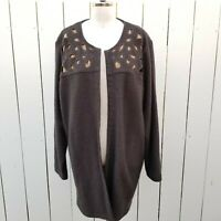 Soft Surroundings XL 100% Wool Cardigan Sweater Gray Gold Eyelets Open Front