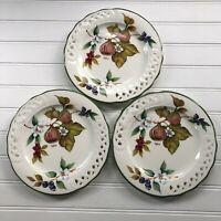 Lot of 3 Brunelli Tiffany Fruit Salad Plates Pierced Rim Green Border Italy
