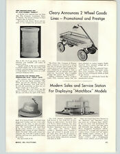 1962 PAPER AD Cleary Coaster Wagon Chieftain Article Matchbox Service Station