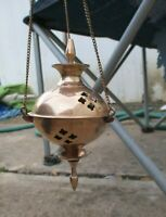 Unique Vintage Handcrafted Solid Brass Hanging Incense/Candle Holder India