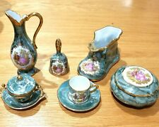 New 10 pc French Limoges Miniature 24k Gold Shoe Pitcher Bowl Cup Bell Saucer