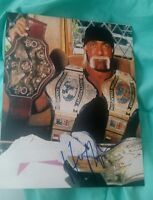 HULK HOGAN SIGNED 8X10 PHOTO WWE WWF BELTS HULKAMANIA W/COA+PROOF RARE WOW