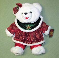"2003 Snowflake TEDDY Christmas BEAR 21"" Plush Stuffed GIRL + Original Tag Red"