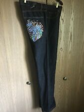 ED HARDY by CHRISTIAN AUDIGIER Mens 100% COTTON Embroidered JEANS 34W x 34L
