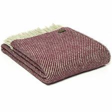 TWEEDMILL TEXTILE 100% Wool Sofa Bed Blanket DIAGONAL STRIPE ROSEWOOD PINK THROW