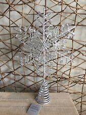 Gisela Graham silver glitter metal snowflake Christmas tree topper 23cm