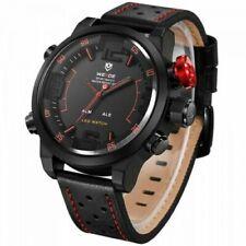 Weide Big Face Mens LeatherJapan Miyota Quartz Mvmt LED Sports Red Wrist Watch