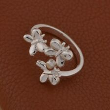 Silver butterfly RING Thumb Wrap Ring plated open cuff ADJUSTABLE butterflys 925