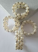 Four Memory Wire Bracelets with Cream Acrylic Pearl Round Beads Sparkly Bridal