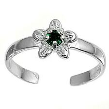 Cz Face Height 7 mm Rhodium Plate Plumeria Toe Ring Sterling Silver 925 Emerald