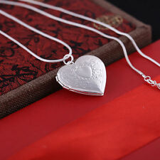 Cute New 925 Silver Plated Heart Photo Locket Pendant Necklace on Snake Chain