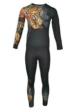Bjj Mma Zrce Black Golden Dragon Men's 2 Piece Long Sleeve Rashguard Set Xl
