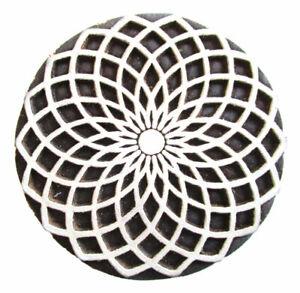 HOLZSTEMPEL MANDALA D=6 cm Textilstempel Indien Henna Seifenstempel Floral Wood