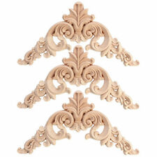 1pc Unpainted Wood Oak Carved Corner Onlay Applique Furniture Moulding Decor