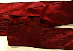 "3"" WIDE GERMAN MOIRE RIBBON - RAYON -  BORDEAUX RED - BURGUNDY"